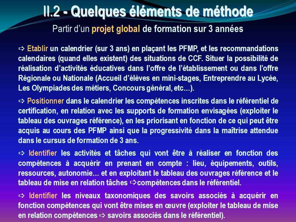 II.2 - Quelques éléments de méthode