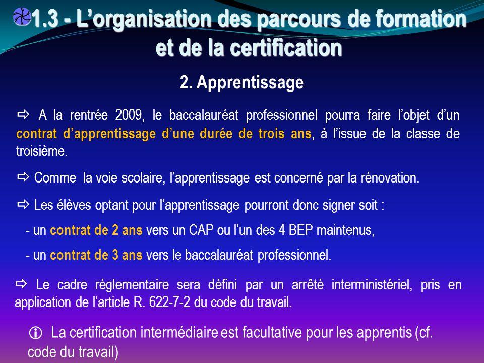 1.3 - L'organisation des parcours de formation et de la certification