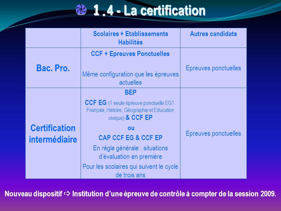 1.4 - La certification Bac. Pro. Certification intermédiaire