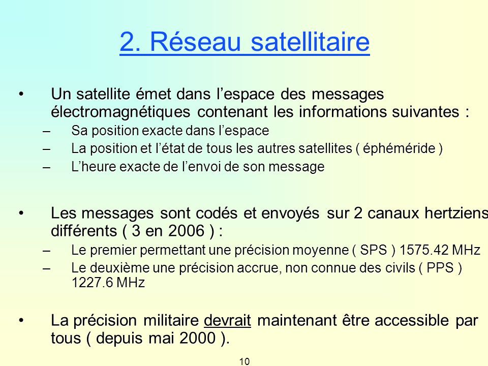 2. Réseau satellitaireUn satellite émet dans l'espace des messages électromagnétiques contenant les informations suivantes :