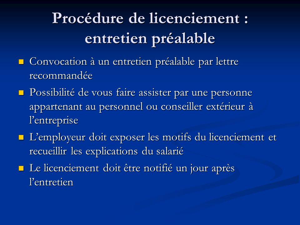 Procédure de licenciement : entretien préalable