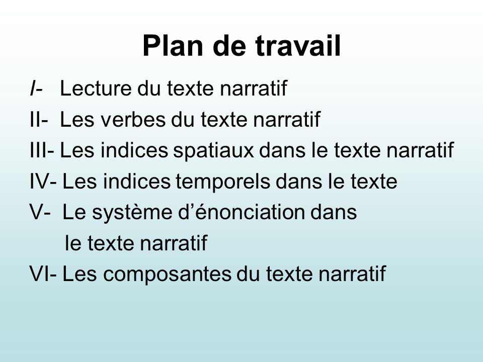 Plan de travail I- Lecture du texte narratif