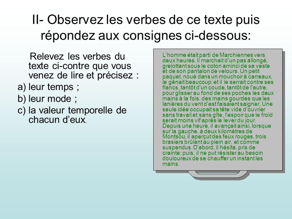 II- Observez les verbes de ce texte puis répondez aux consignes ci-dessous: