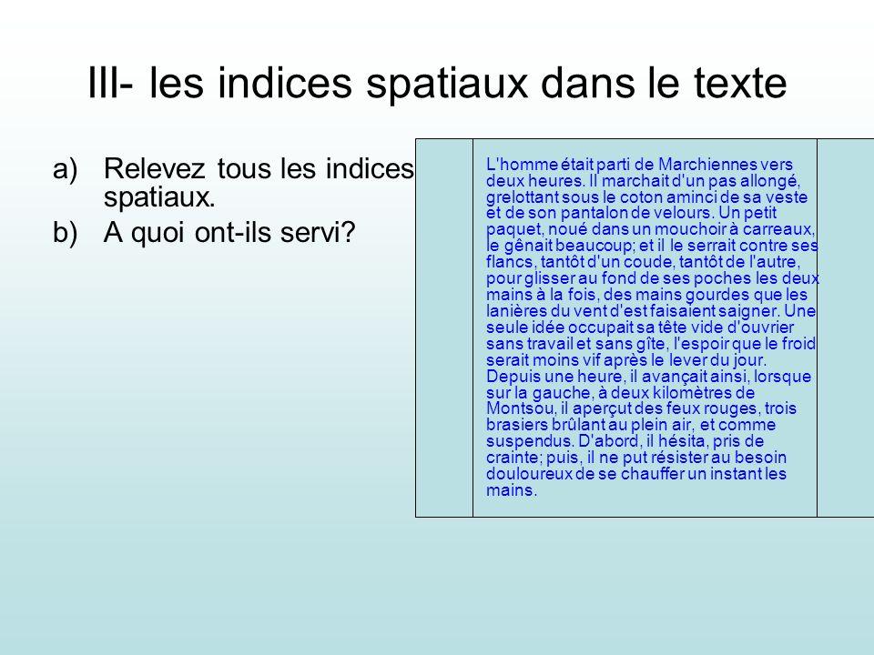 III- les indices spatiaux dans le texte