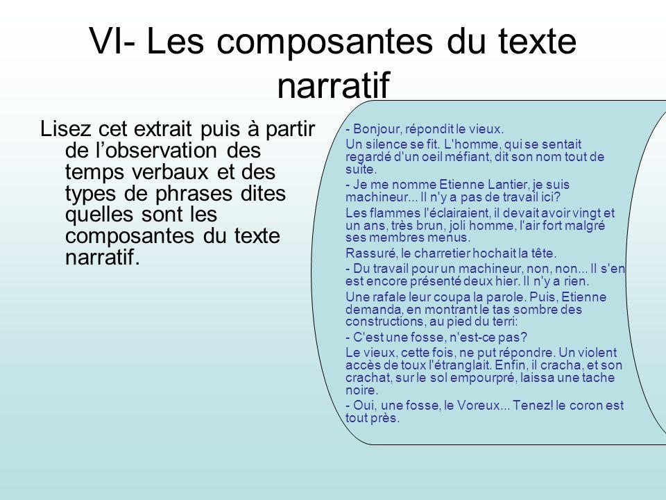 VI- Les composantes du texte narratif