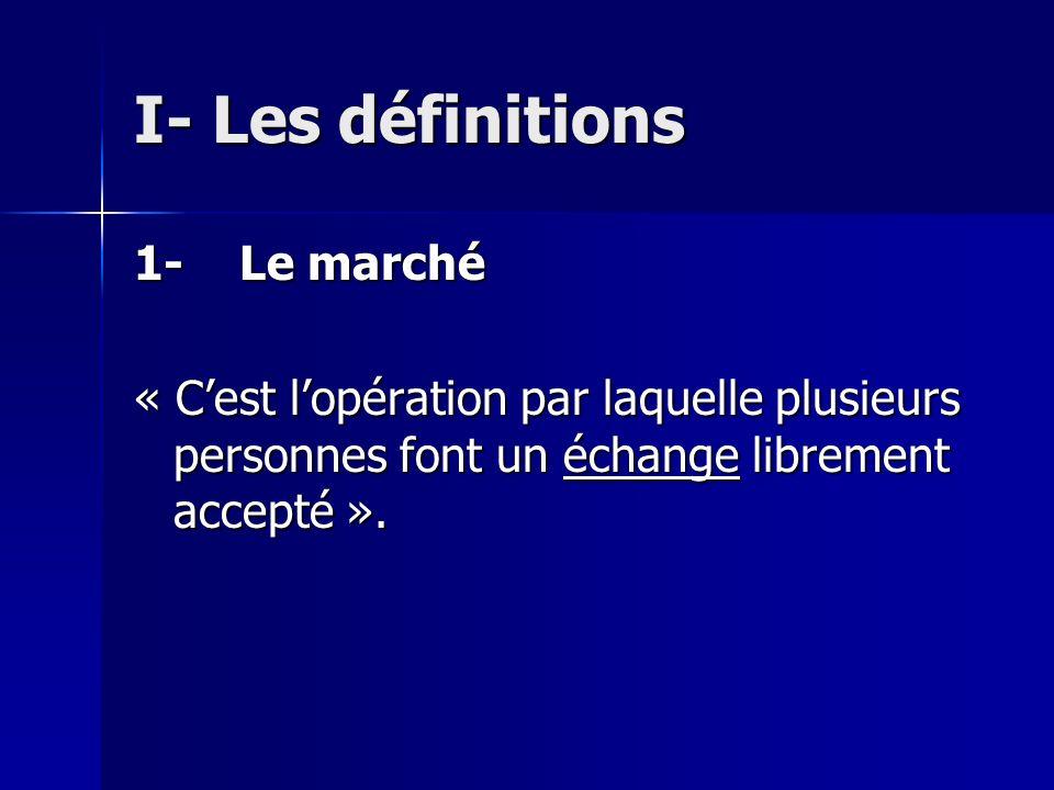I- Les définitions 1- Le marché