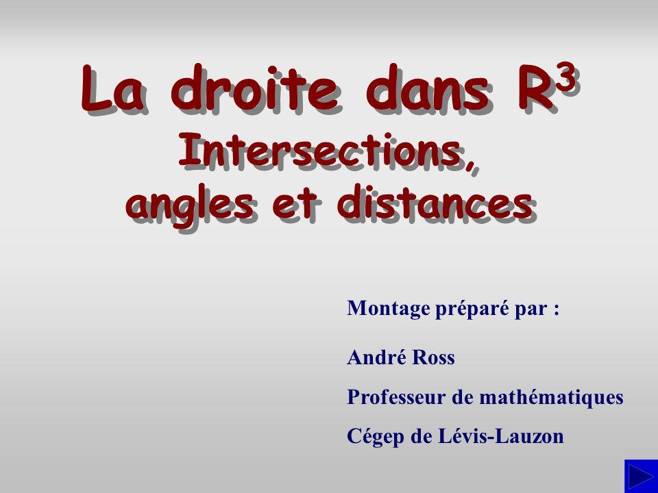 La droite dans R3 Intersections, angles et distances