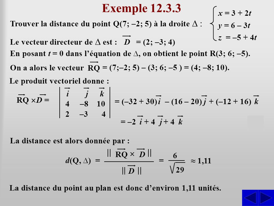 Exemple 12.3.3 S S x = 3 + 2t y = 6 – 3t z = –5 + 4t