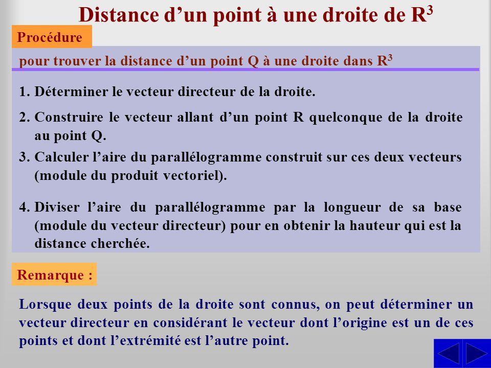 Distance d'un point à une droite de R3