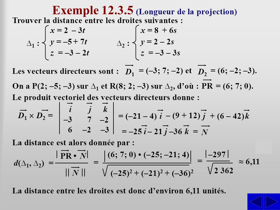 Exemple 12.3.5 (Longueur de la projection)