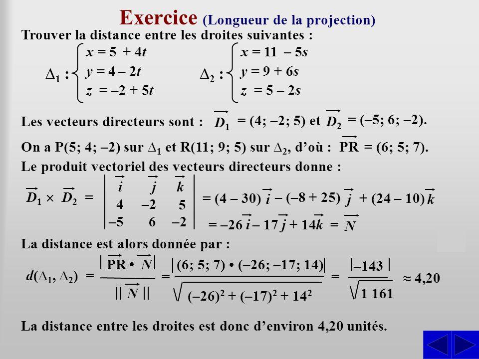 Exercice (Longueur de la projection)