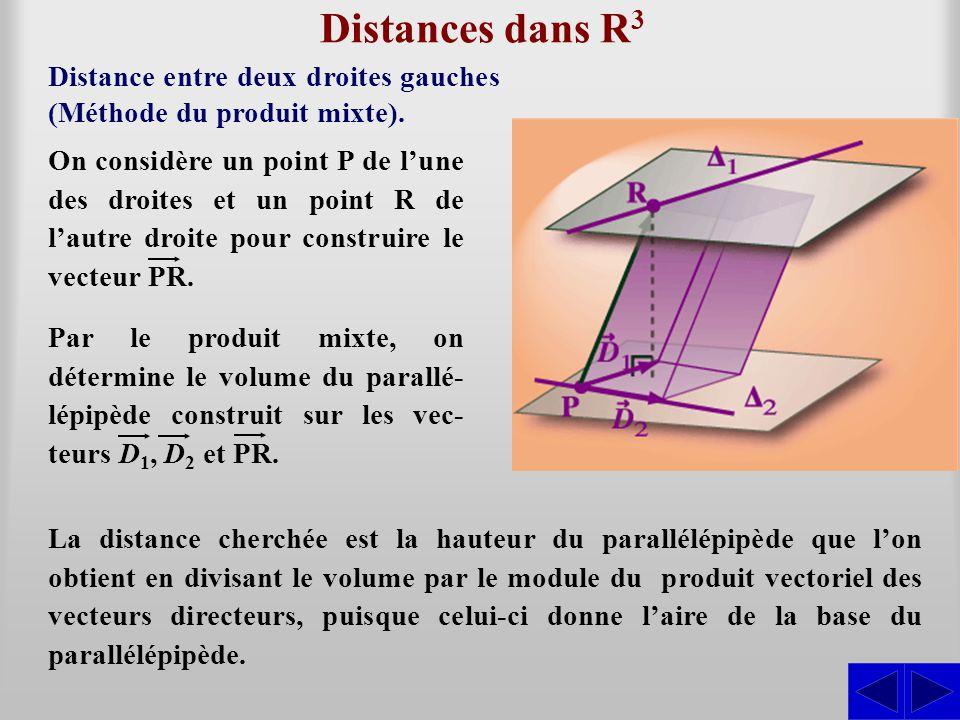 Distances dans R3 Distance entre deux droites gauches (Méthode du produit mixte).