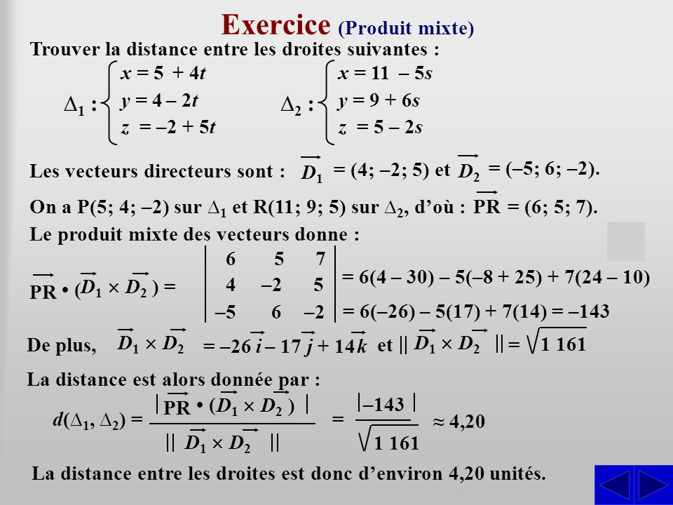 Exercice (Produit mixte)