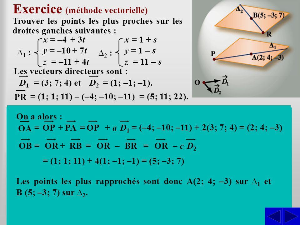 Exercice (méthode vectorielle)