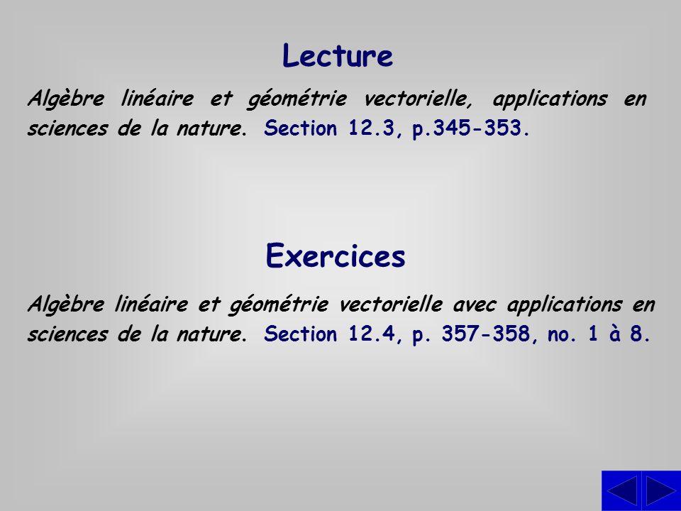 Lecture Algèbre linéaire et géométrie vectorielle, applications en sciences de la nature. Section 12.3, p.345-353.