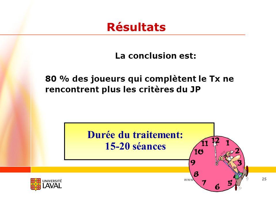 Résultats Durée du traitement: 15-20 séances La conclusion est: