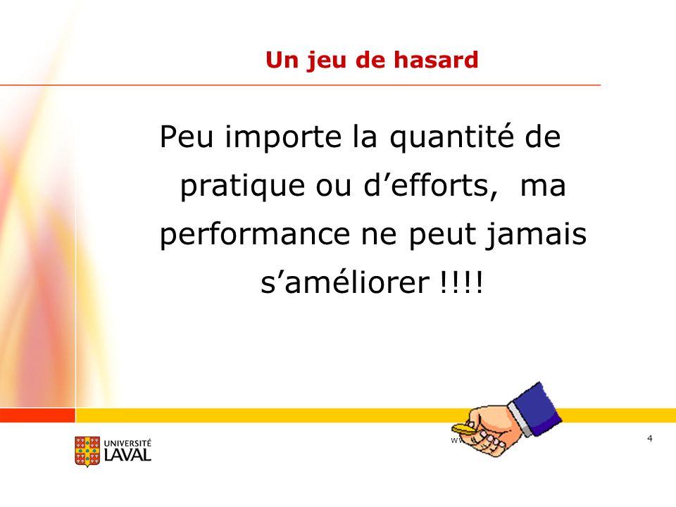 Un jeu de hasard Peu importe la quantité de pratique ou d'efforts, ma performance ne peut jamais s'améliorer !!!!