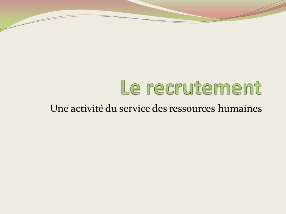 Une activité du service des ressources humaines