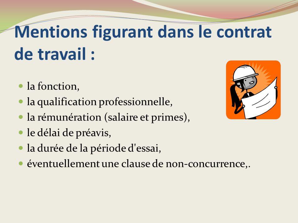Mentions figurant dans le contrat de travail :