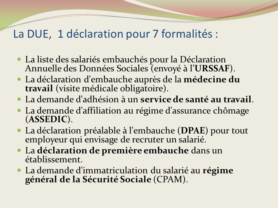La DUE, 1 déclaration pour 7 formalités :