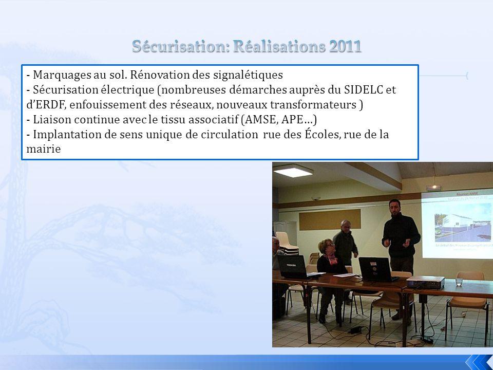 Sécurisation: Réalisations 2011