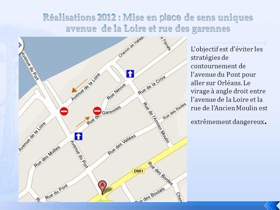 Réalisations 2012 : Mise en place de sens uniques avenue de la Loire et rue des garennes