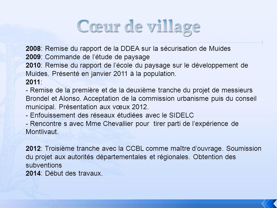 Cœur de village 2008: Remise du rapport de la DDEA sur la sécurisation de Muides. 2009: Commande de l'étude de paysage.