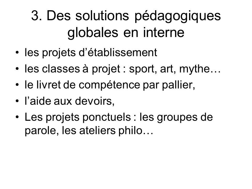 3. Des solutions pédagogiques globales en interne