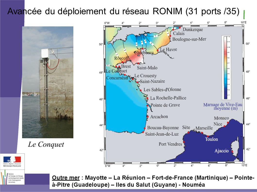 Avancée du déploiement du réseau RONIM (31 ports /35)