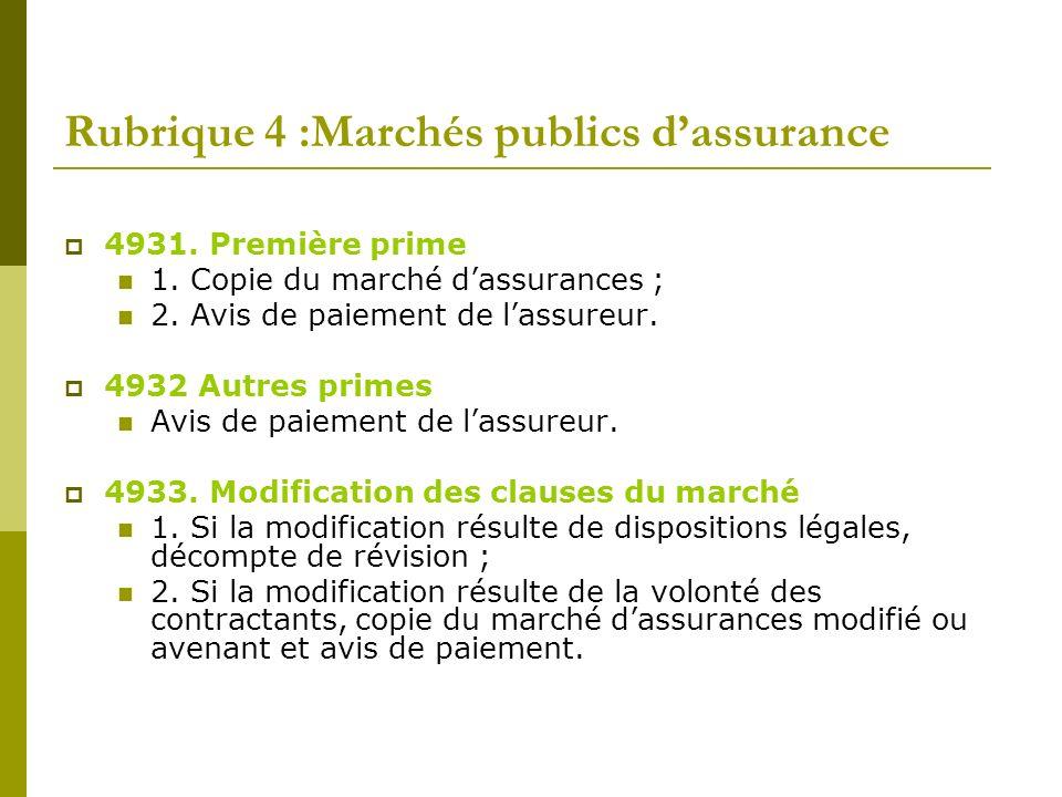 Rubrique 4 :Marchés publics d'assurance