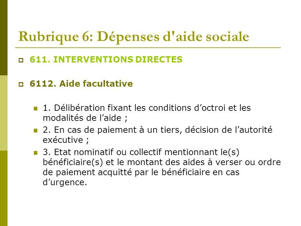 Rubrique 6: Dépenses d aide sociale