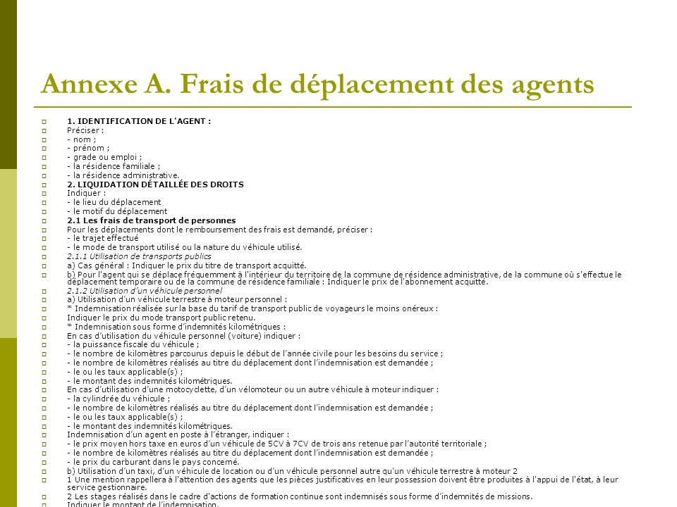 Annexe A. Frais de déplacement des agents
