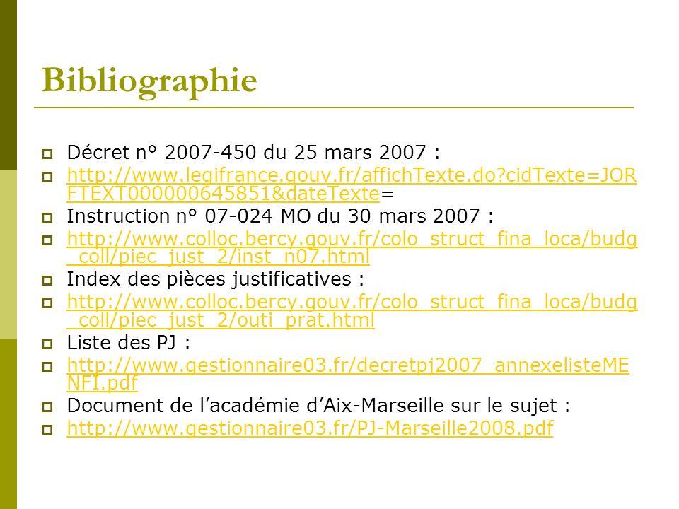Bibliographie Décret n° 2007-450 du 25 mars 2007 :