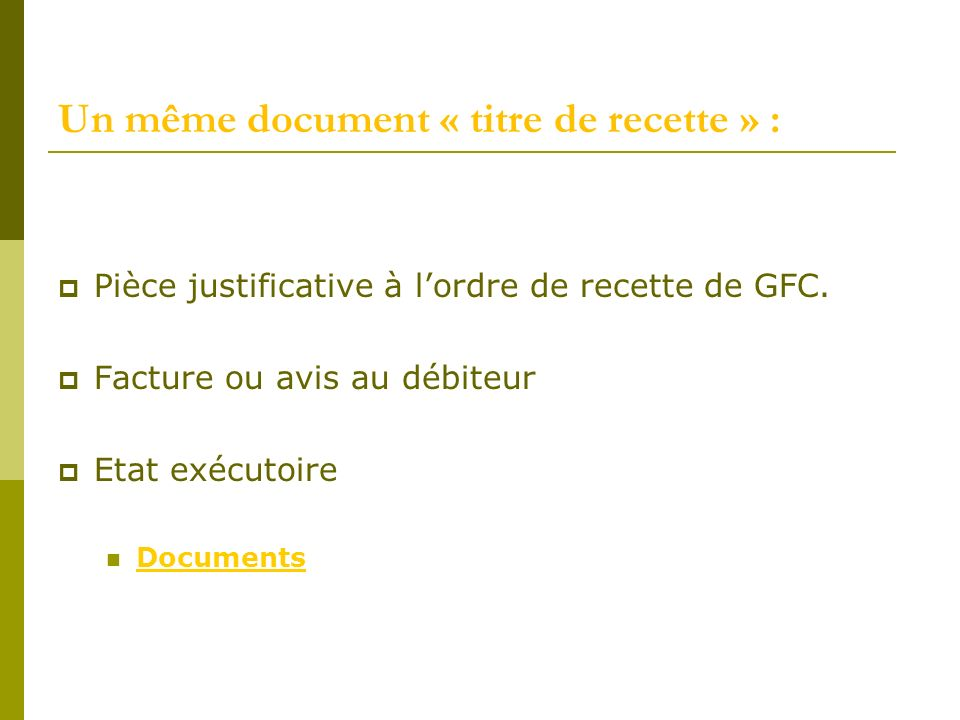 Un même document « titre de recette » :