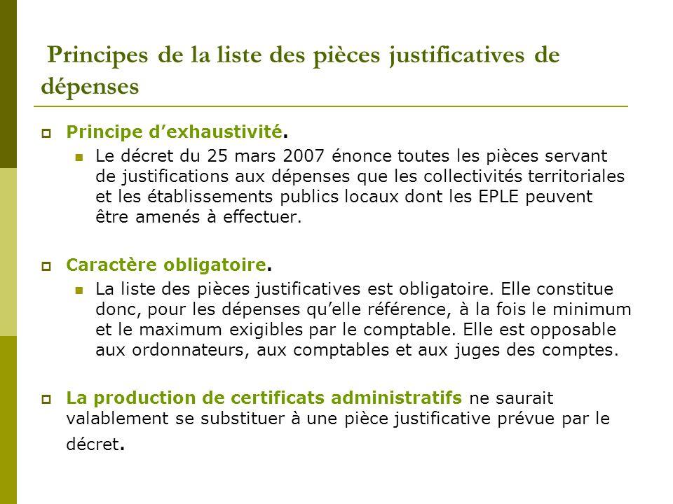 Principes de la liste des pièces justificatives de dépenses