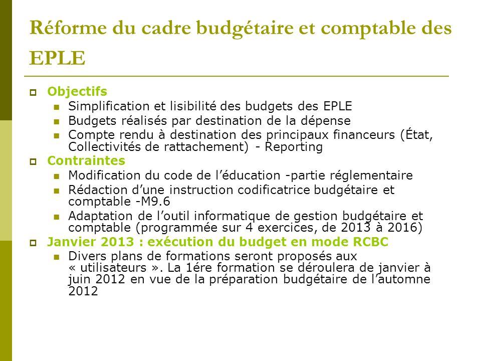 Réforme du cadre budgétaire et comptable des EPLE