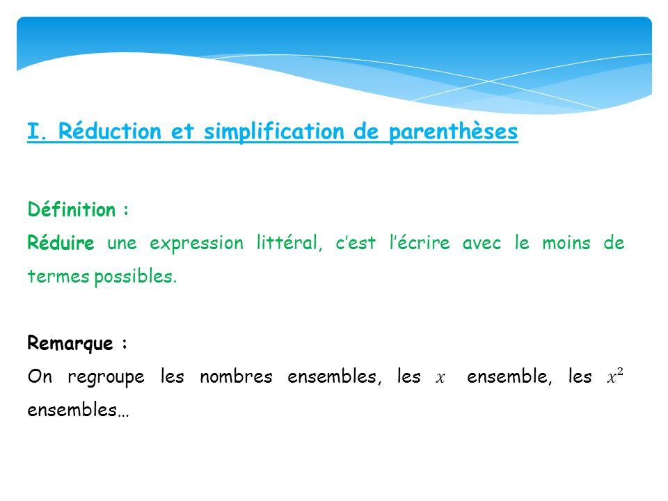I. Réduction et simplification de parenthèses