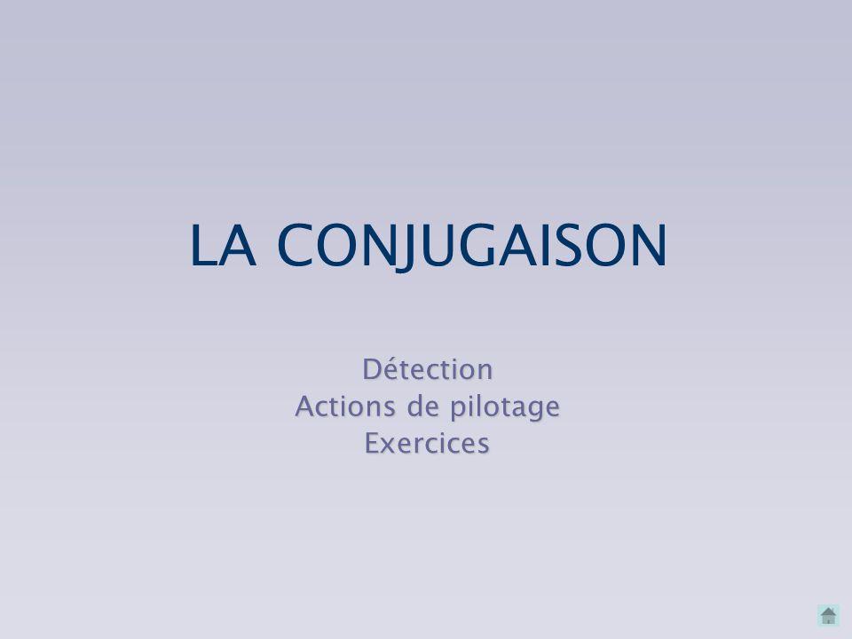 LA CONJUGAISON Détection Actions de pilotage Exercices