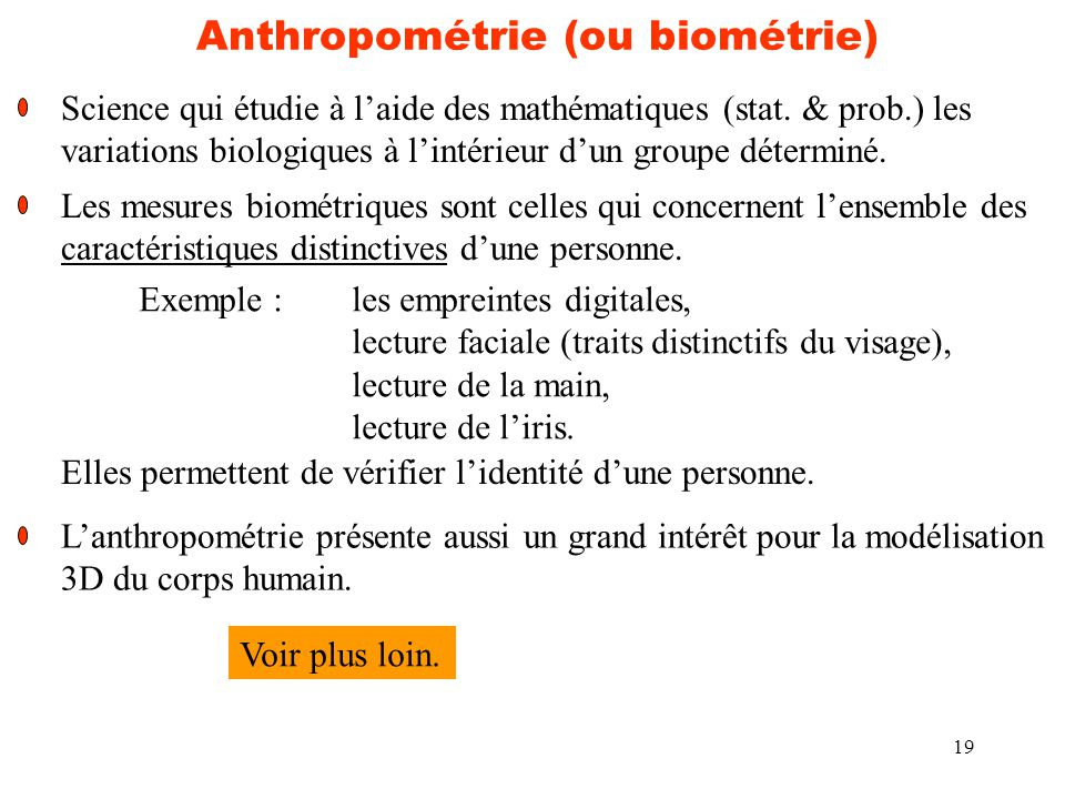 Anthropométrie (ou biométrie)