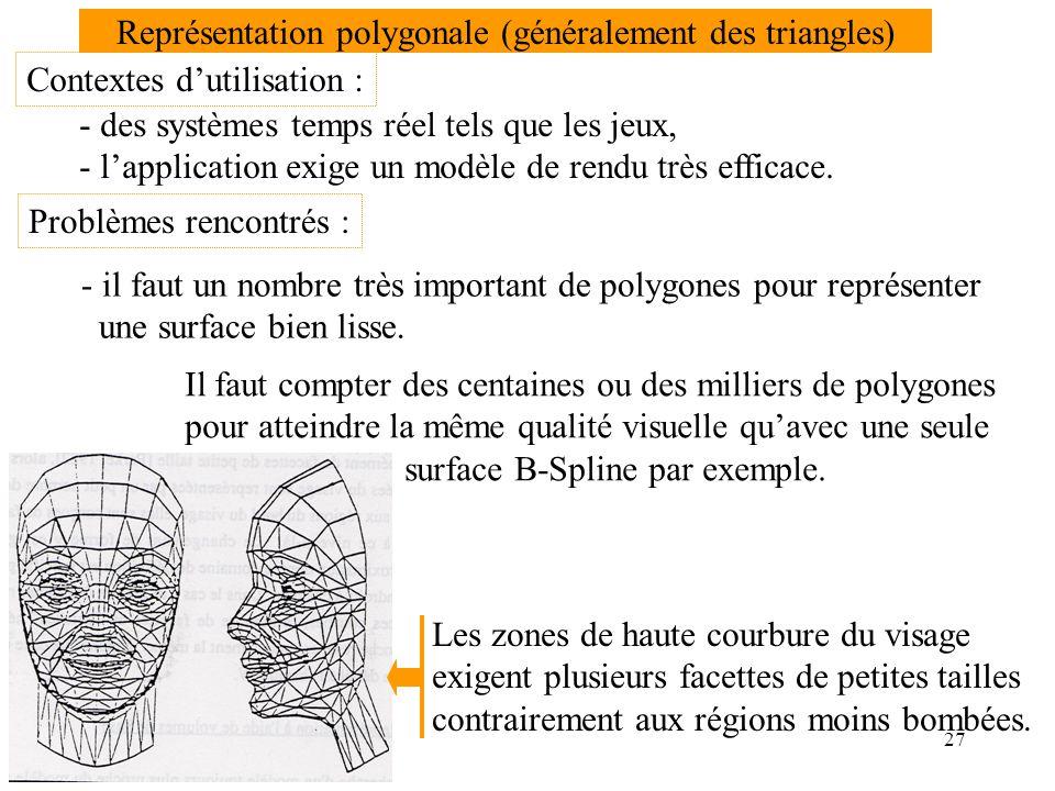 Représentation polygonale (généralement des triangles)
