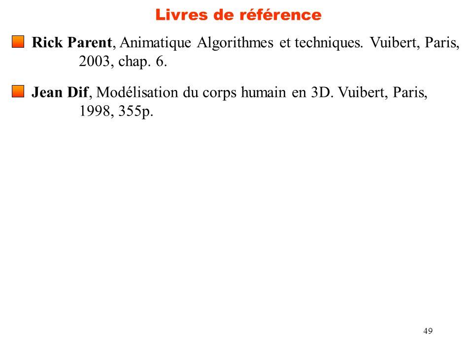 Livres de référence Rick Parent, Animatique Algorithmes et techniques. Vuibert, Paris, 2003, chap. 6.