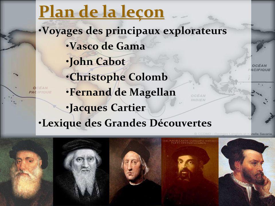 Plan de la leçon Voyages des principaux explorateurs Vasco de Gama