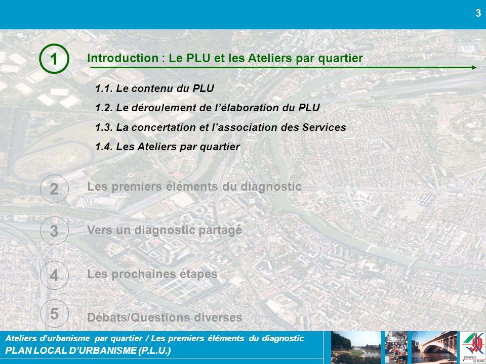 1 2 3 4 5 Introduction : Le PLU et les Ateliers par quartier