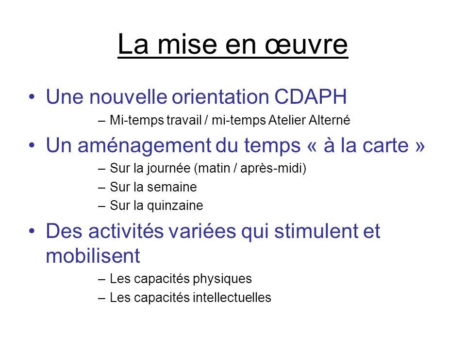 La mise en œuvre Une nouvelle orientation CDAPH