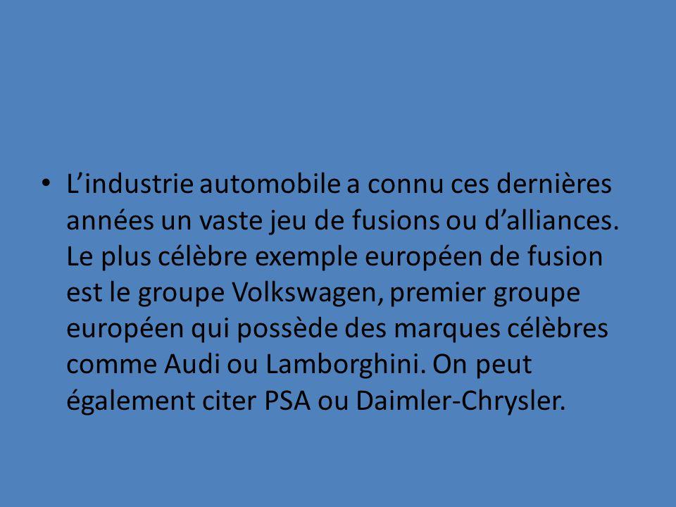 L'industrie automobile a connu ces dernières années un vaste jeu de fusions ou d'alliances.