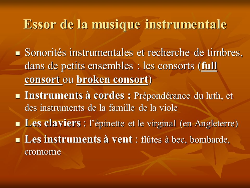 Essor de la musique instrumentale