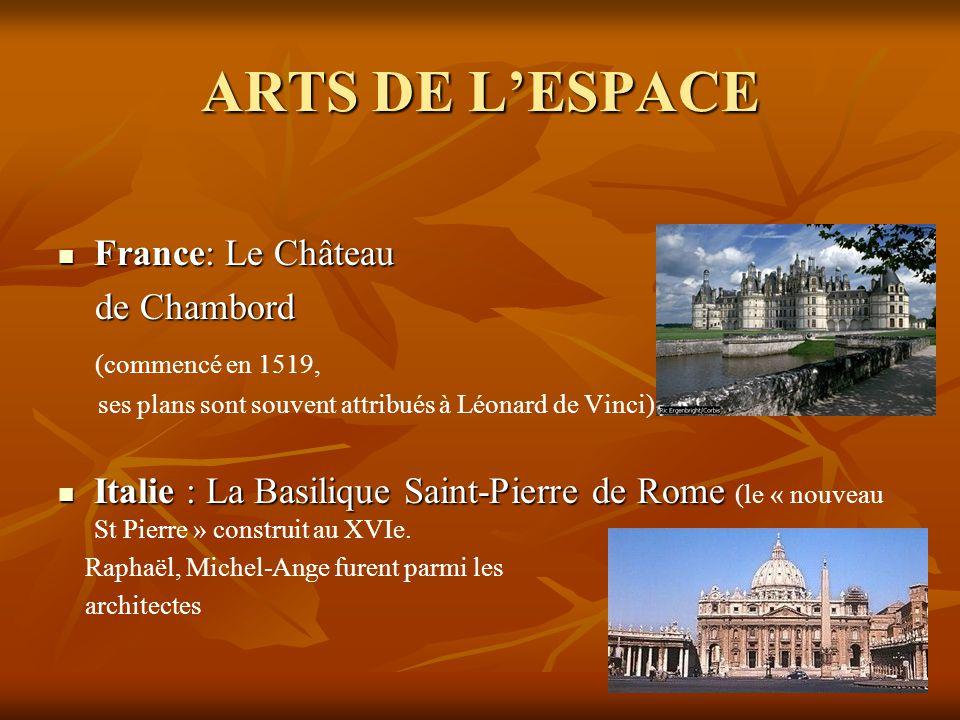 ARTS DE L'ESPACE France: Le Château de Chambord (commencé en 1519,