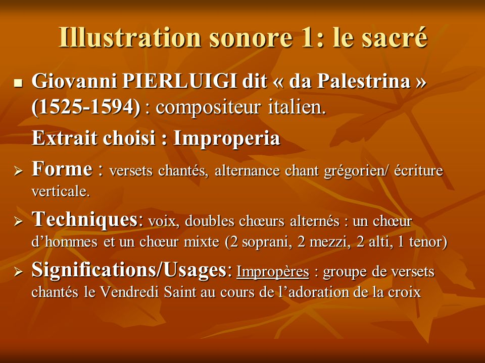 Illustration sonore 1: le sacré