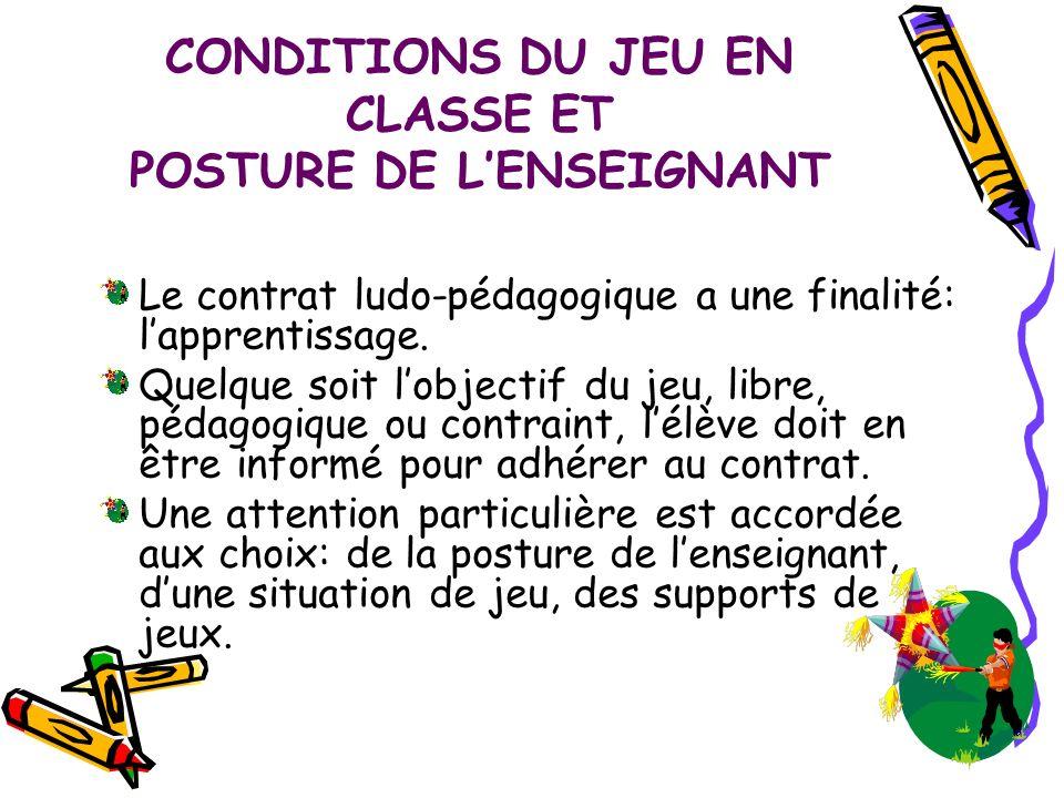 CONDITIONS DU JEU EN CLASSE ET POSTURE DE L'ENSEIGNANT