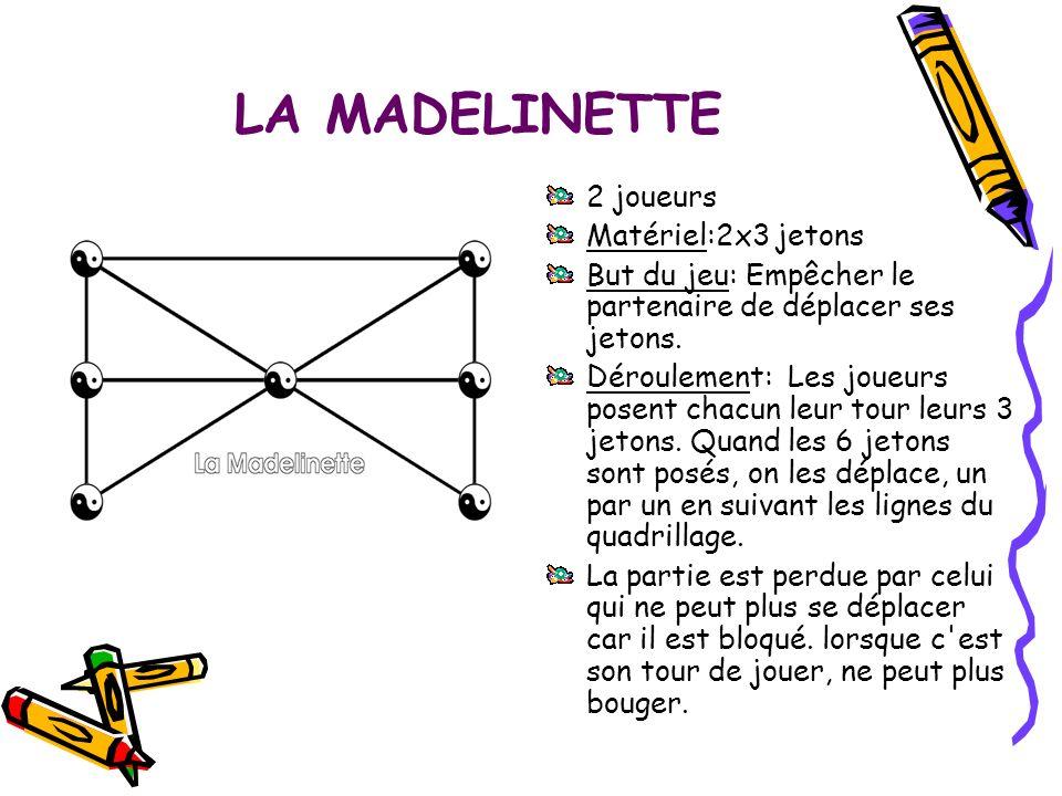 LA MADELINETTE 2 joueurs Matériel:2x3 jetons